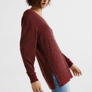 Lucky Brand Cloud Jersey V-Neck Tunic Sweater Top